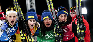 17.02.2018, Pyeongchang, Korea (KOR):Stina Nilsson (SWE), Ebba Andersson (SWE), Charlotte Kalla (SWE), Anna Haag (SWE), (l-r)  - XXIII. Olympic Winter Games Pyeongchang 2018, cross-country, 4x5km women, Pyeongchang (KOR). www.nordicfocus.com. © Modica/N