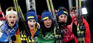 17.02.2018, Pyeongchang, Korea (KOR):Stina Nilsson (SWE), Ebba Andersson (SWE), Charlotte Kalla (SWE), Anna Haag (SWE), (l-r)  - XXIII. Olympic Winter Games Pyeongchang 2018, cross-country, 4x5km women, Pyeongchang (KOR). www.nordicfocus.com. © Modica/N