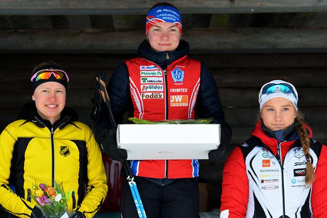 HÄR ÄR PALLEN i D17-18 över 5 km fristil, fr v: Tilda Östberg, Stora Tuna (2:a), Moa Hansson, Landsbro (1:a) och Tilde Östberg, Offerdal (3:a). Foto: ROLF ZETTERBERG