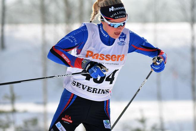 FRIDA KARLSSON, Sollefteå tog sitt tredje JSM-guld den här veckan och var åter igen helt överlägsen i D19-20. Foto: ROLF ZETTERBERG