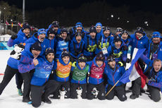 20.02.2018, Pyeongchang, Korea (KOR):Martin Fourcade (FRA), Simon Desthieux (FRA), Anais Bescond (FRA), Marie Dorin Habert (FRA), Celia Aymonier (FRA), (l-r) - XXIII. Olympic Winter Games Pyeongchang 2018, biathlon, relay mixed, Pyeongchang (KOR). www.no