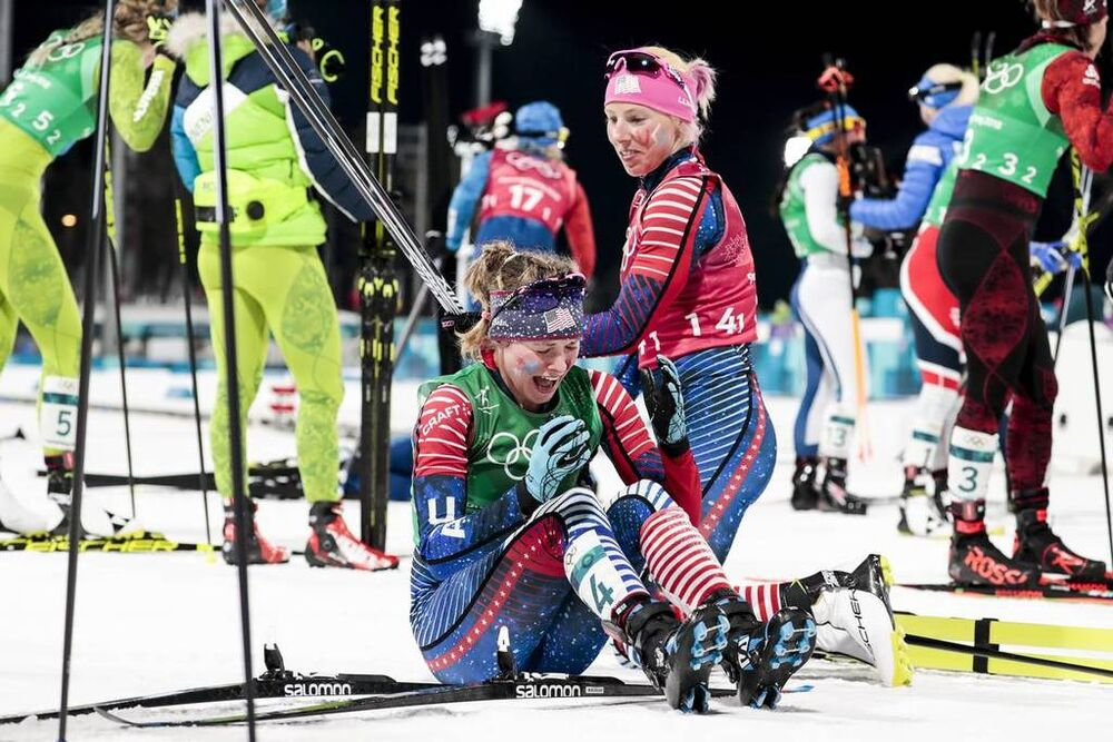 21.02.2018, Pyeongchang, Korea (KOR):Kikkan Randall (USA), Jessica Diggins (USA), (l-r)  - XXIII. Olympic Winter Games Pyeongchang 2018, cross-country, team sprint,  Pyeongchang (KOR). www.nordicfocus.com. © Modica/NordicFocus. Every downloaded picture