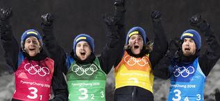 23.02.2018, Pyeongchang, Korea (KOR):Peppe Femling (SWE), Jesper Nelin (SWE), Sebastian Samuelsson (SWE), Fredrik Lindstroem (SWE), (l-r), (l-r) - XXIII. Olympic Winter Games Pyeongchang 2018, biathlon, relay men, Pyeongchang (KOR). www.nordicfocus.com.