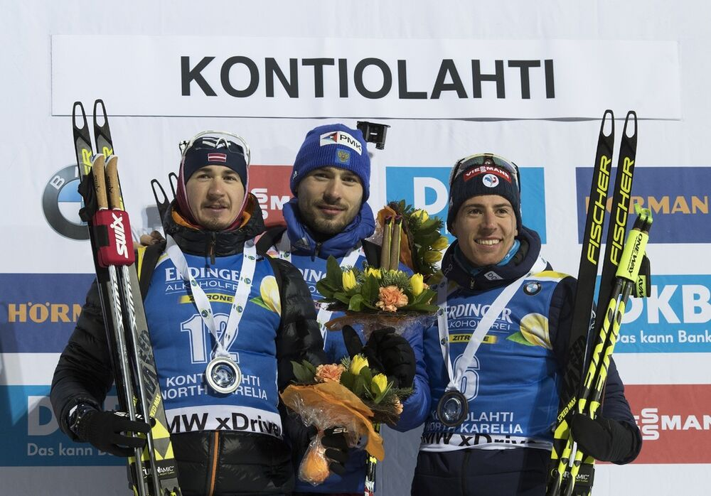 08.03.2018, Kontiolahti, Finland (FIN):Andrejs Rastorgujevs (LAT), Anton Shipulin (RUS), Quentin Fillon Maillet (FRA), (l-r) -  IBU world cup biathlon, sprint men, Kontiolahti (FIN). www.nordicfocus.com. © Manzoni/NordicFocus. Every downloaded picture i