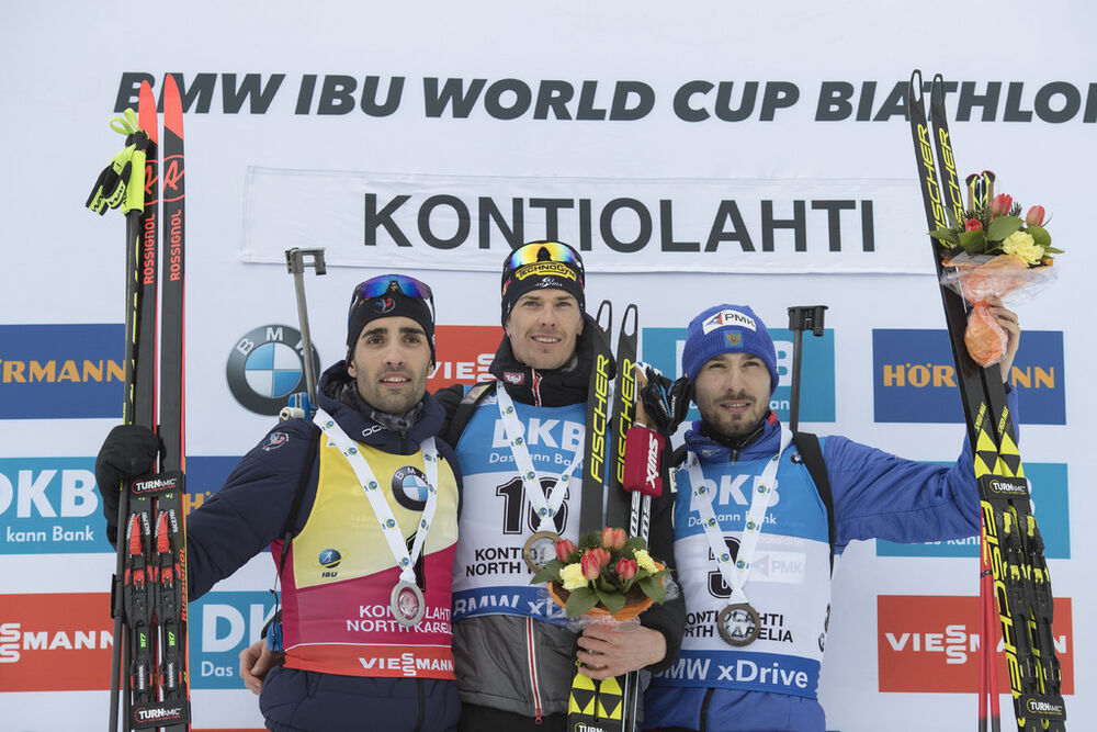 11.03.2018, Kontiolahti, Finland (FIN):Martin Fourcade (FRA), Julian Eberhard (AUT), Anton Shipulin (RUS), (l-r) - IBU world cup biathlon, mass start men, Kontiolahti (FIN). www.nordicfocus.com. © Manzoni/NordicFocus. Every downloaded picture is fee-lia