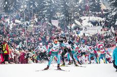 10.03.2018, Oslo, Norway (NOR):Adrien Backscheider (FRA), Dario Cologna (SUI), Jules Lapierre (FRA), Simen Andreas Sveen (NOR), (l-r)  - FIS world cup cross-country, mass men, Oslo (NOR). www.nordicfocus.com. © Modica/NordicFocus. Every downloaded pictu