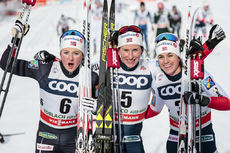 17.12.2017, Toblach, Italy (ITA):Ingvild Flugstad Oestberg (NOR), Marit Bjoergen (NOR), Heidi Weng (NOR), (l-r)  - FIS world cup cross-country, pursuit women, Toblach (ITA). www.nordicfocus.com. © Modica/NordicFocus. Every downloaded picture is fee-liab
