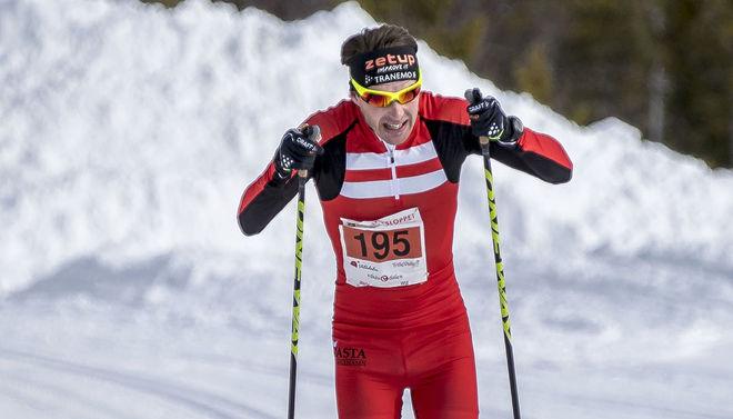 MARKUS JÖNSSON på väg mot en soloseger i Årefjällsloppet 2018. Foto: LARS RÖNNOLS