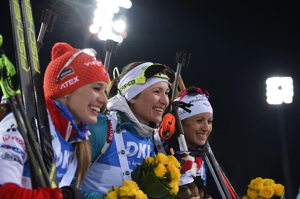 25.03.2018, Tyumen, Russia (RUS):Anais Chevalier (FRA), Paulina Fialkova (SVK), Darya Domracheva (BLR) - IBU world cup biathlon, mass women, Tyumen (RUS). www.nordicfocus.com. © Tumashov/NordicFocus. Every downloaded picture is fee-liable.