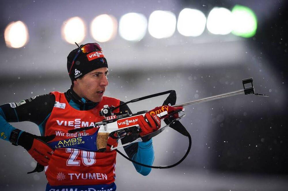 22.03.2018, Tyumen, Russia (RUS):Quentin Fillon Maillet (FRA) - IBU world cup biathlon, sprint men, Tyumen (RUS). www.nordicfocus.com. © Tumashov/NordicFocus. Every downloaded picture is fee-liable.