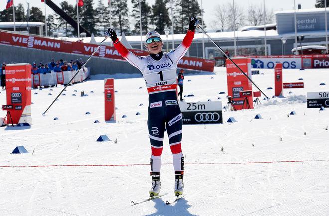MARIT BJÖRGEN tog en sista seger över Charlotte Kalla då hon vann sin tredje sista tävling som var Trondheim skishow under onsdagskvällen. Här från världscupfinalen i Falun. Foto/rights: MARCELA HAVLOVA/KEK-stock