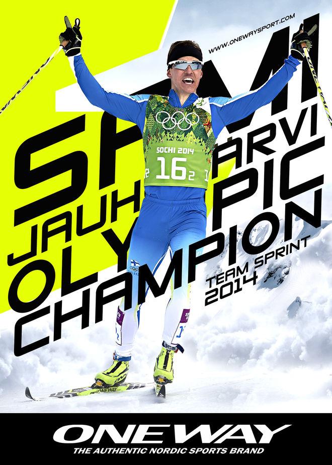 SAMI JAUHOJÄRVI var den första världsåkaren på ONE WAY:s skidor och blev en viktig PR-maskin för firman. Här från OS-guldet i teamsprint i Sochi 2014. Foto: ONE WAY Sports