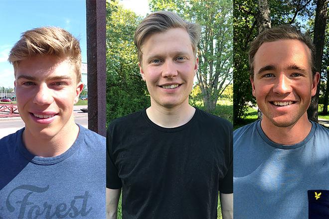 TRE STARKA NYFÖRVÄRV till IFK Mora SK nästa säsong: Eric Rosjö, Axel Ekström och Eddie Edström. Foto: IFK MORA SK
