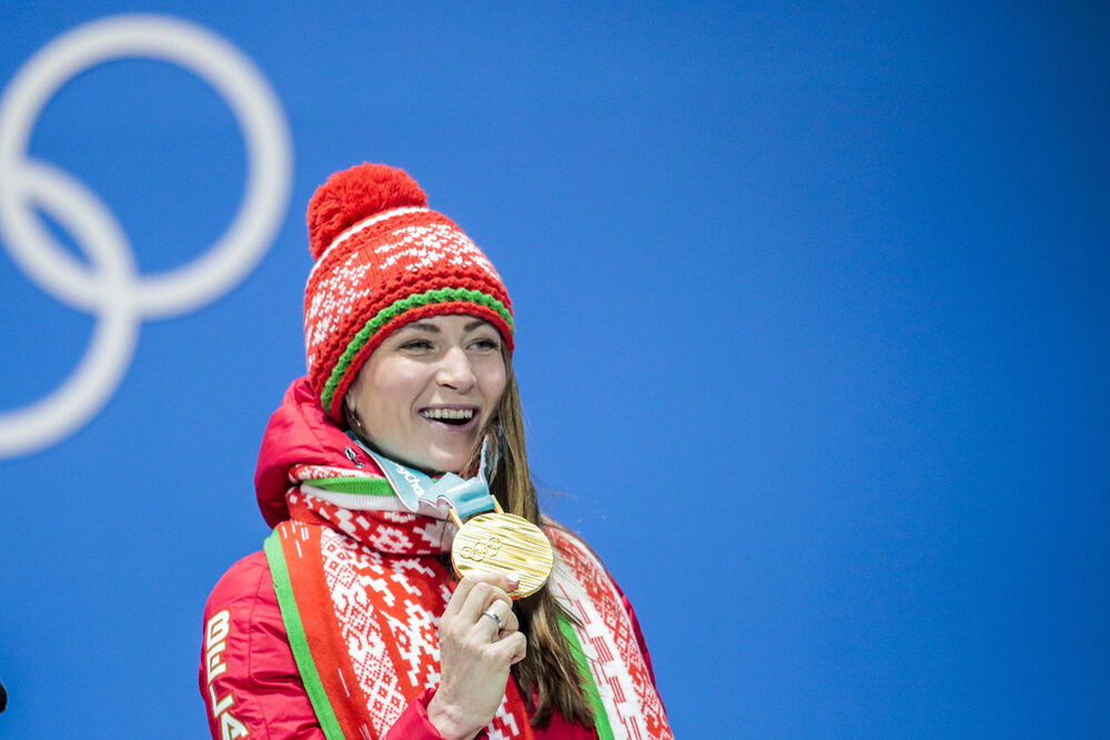 23.02.2018, Pyeongchang, Korea (KOR):Darya Domracheva (BLR) - XXIII. Olympic Winter Games Pyeongchang 2018, biathlon, medals, Pyeongchang (KOR). www.nordicfocus.com. © Modica/NordicFocus. Every downloaded picture is fee-liable.
