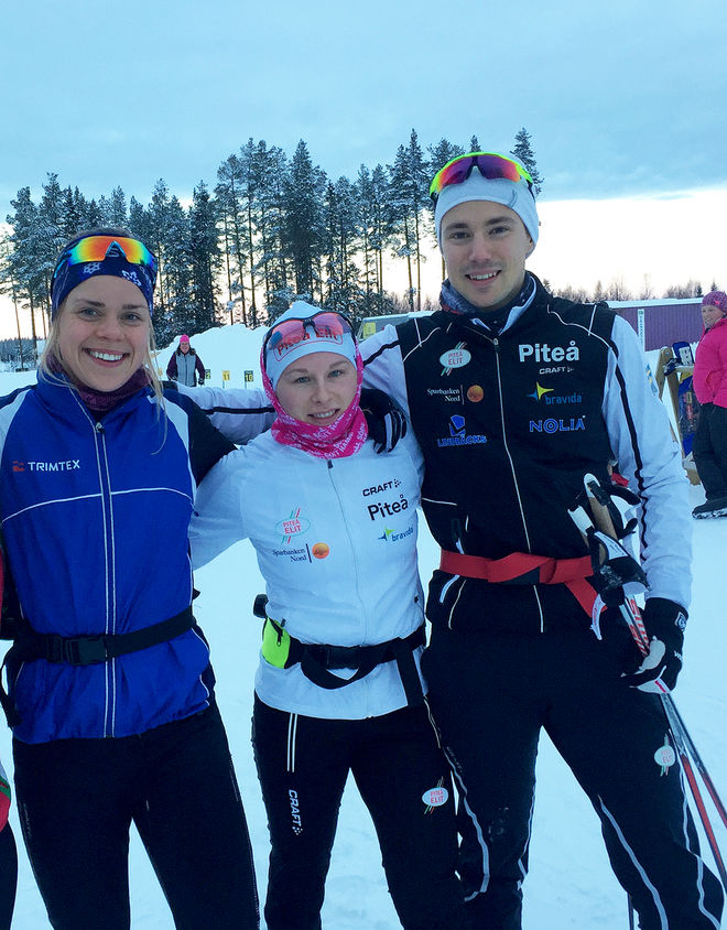 LOVISA MODIG (tv) går till Piteå Elit från Sävast Ski Team. Här med sin nya klubbkompis Mia Eriksson och Karl Edenroth som avslutar sin karriär och som blivit anställd på 50% i klubben. Foto: PITEÅ ELIT