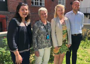 Juryen i Norges beste uterom: (f.v.) Bea Antoniewicz (NLI), Kirsten Lunde (NMBU), Birgitte Riegels Høiland (NLA) og Fridtjof Denneche (NKF). Marianne Skjulhaug (AHO) og Tor-Jørgen Askim (NAML) var ikke tilstede da bildet ble tatt.
