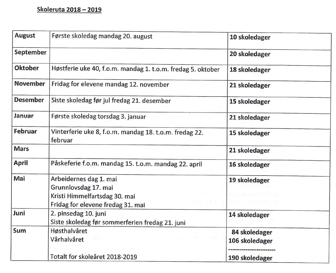 Skoleruta 2018-2019