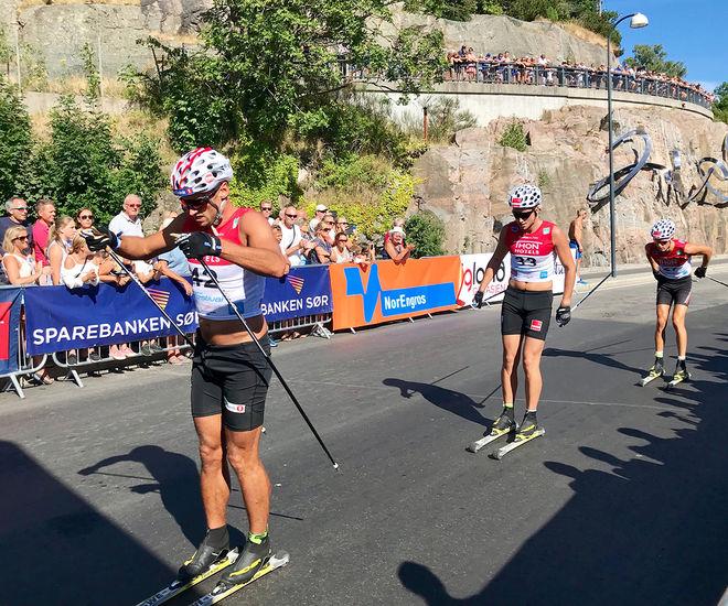 PETTER NORTHUG jr i täten i Kristiansand Skifestival där han äntligen tog en seger i kamp mot dom flesta landslagsåkarna igen. Foto/rights: PER OLA HOLDEN/KEK-stock