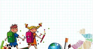 Illustrasjon som viser to barn på vei til skolen.