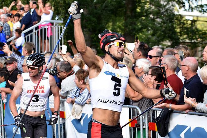 ANDREAS NYGAARD jublar över segern i Alliansloppet förra året. Foto: ROLF ZETTERBERG