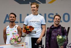 EMMANUELE BECCHIS (tv) föll i finalen och blev tvåa i supersprinten som han vann ifjol. Jostein Olafsen, Norge (mitten) vann medan landsmannen och världsrekordhållaren Ludvig Søgnen Jensen (th) var trea. Foto: ROLF ZETTTERBERG