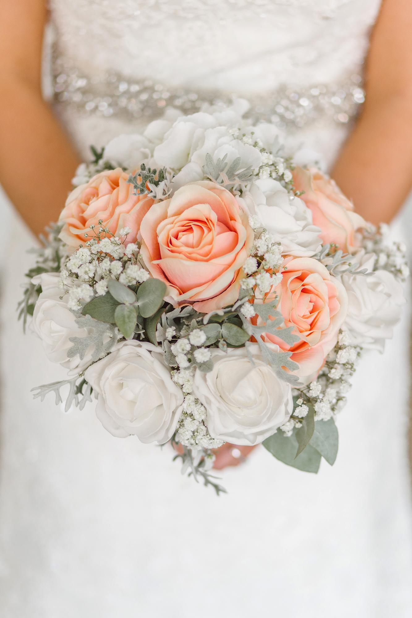 Bilde illustrasjon bryllup brudebukett og brud i hvit kjole