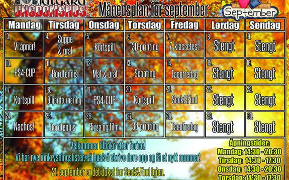 Månedsplan september 2018 Midtgard