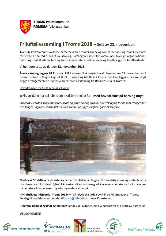Friluftslivssamling i Troms 2018- sett av datoen
