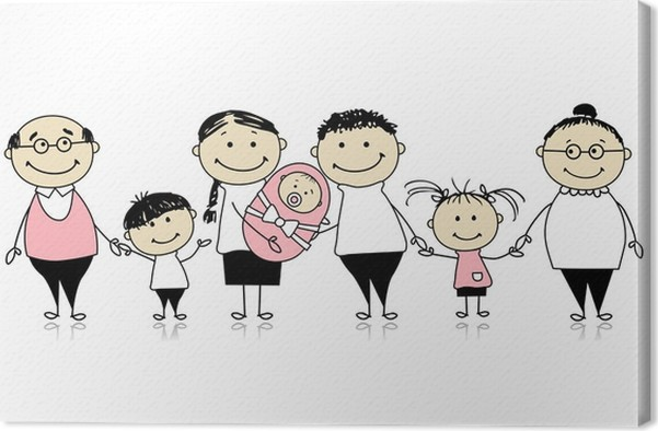 Happy big family with children, newborn baby