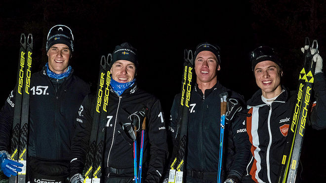 LAGER 157 dominerade premiären i Grönklitt, fr v: Andreas Holmberg (3:a), Anton Karlsson (1:a), Emil Persson (2:a) och bäste icke-Lager 157-åkare, Olle Jonsson (4:a). Foto: LASSE JONSSON