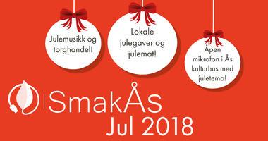 Lørdag 8. desember blir det julestemning i Ås sentrum. SmakÅsJul 2018 organiseres og arrangeres av Ås kommune og Ås landbrukslag i samarbeid med Sentrumsforeningen i Ås.