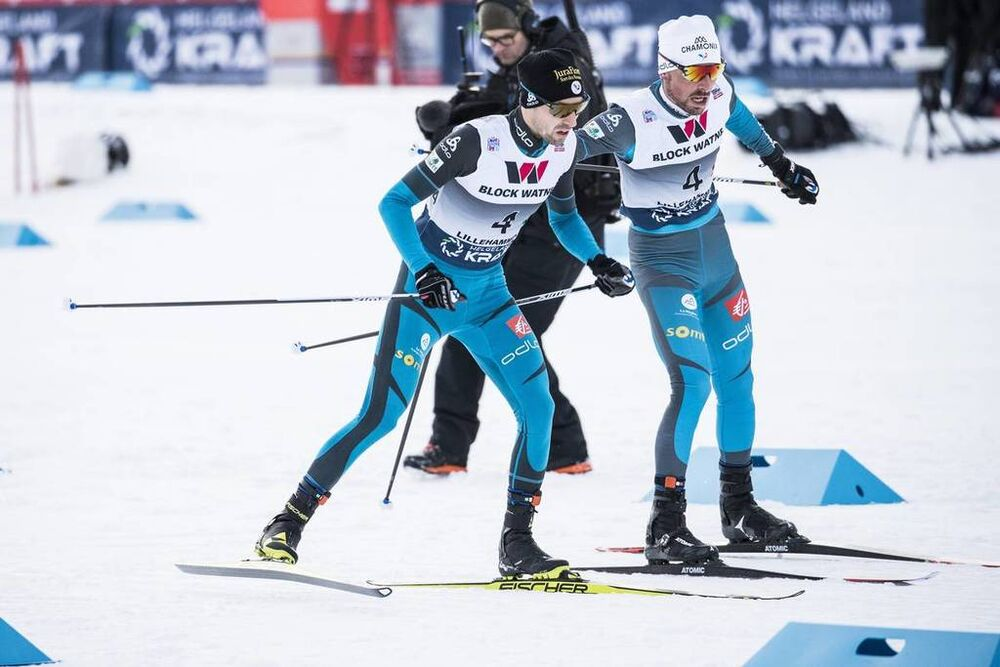 02.12.2017, Lillehammer, Norway (NOR):Francois Braud (FRA), Maxime Laheurte (FRA), (l-r)  - FIS world cup nordic combined, team HS100/4x5km, Lillehammer (NOR). www.nordicfocus.com. © Modica/NordicFocus. Every downloaded picture is fee-liable.