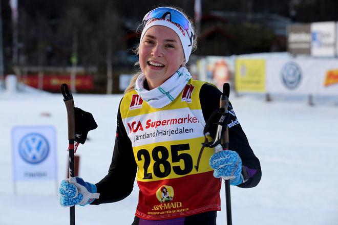 NORSK SEGER i damjuniorklassen i Bruksvallsloppet. Astrid Stav från IL Varden i Meråker blev också norsk mästare i stafett på seniornivå förra säsongen. Foto/rights: KJELL-ERIK KRISTIANSEN/KEK-stock
