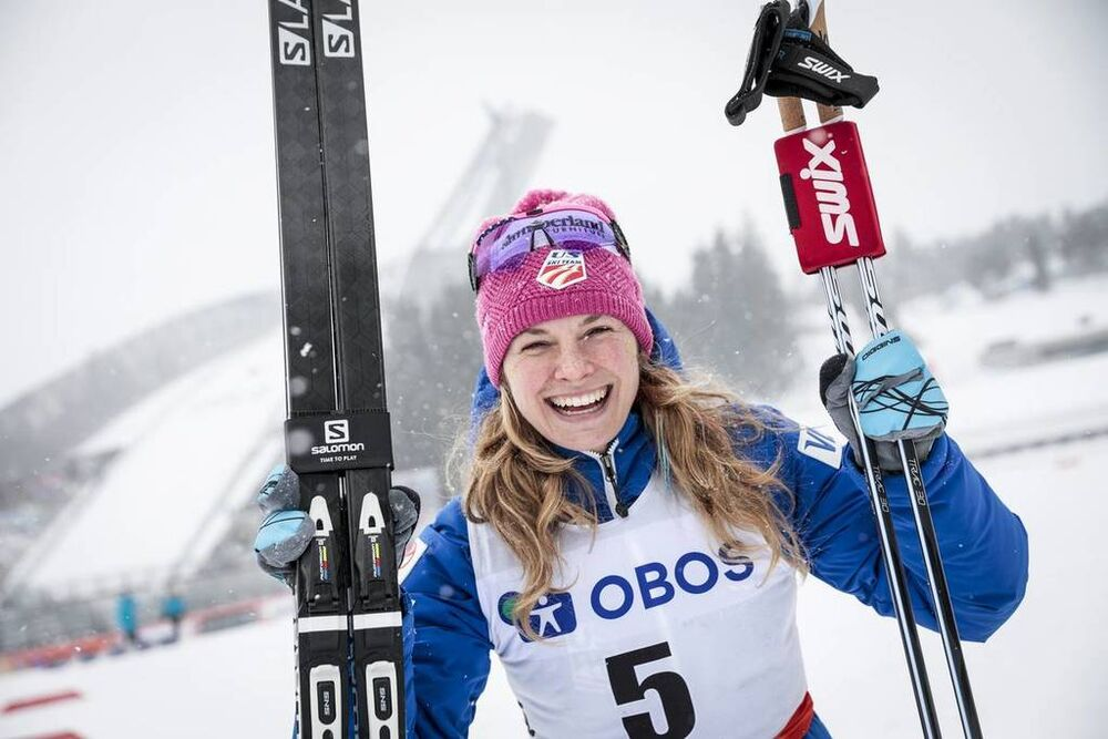 11.03.2018, Oslo, Norway (NOR):Jessica Diggins (USA) - FIS world cup cross-country, mass women, Oslo (NOR). www.nordicfocus.com. © Modica/NordicFocus. Every downloaded picture is fee-liable.