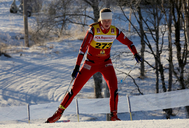 HANNA ABRAHAMSSON, Eksjö SOK vann D20-klassen i juniorsprinten i Idre under lördagen. Foto/rights: KJELL-ERIK KRISTIANSEN/KEK-stock