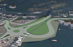 Illustrasjon av ny rundkjøring ved Indrefjord