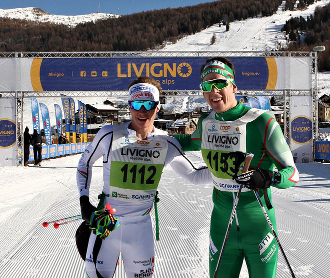 HÅRD FIGHT mellan Viktor Brännmark (tv) och Anders Glöersen i La Sgambeda i Italien. Viktor blev mycket stark tvåa. Foto: NEWSPOWER.IT