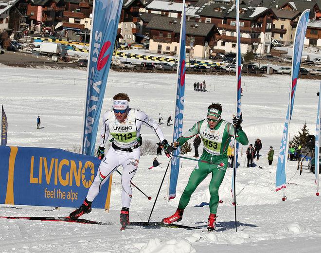 VIKTOR BRÄNNMARK drar före Anders Glöersen i lördagens La Sgambeda i Livigno. Dom båda var långt före alla andra, men norrmannen vann spurten. Foto: NEWSPOWER.IT