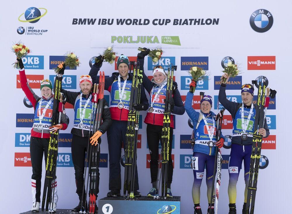 02.12.2018, Pokljuka, Slovenia (SLO):Lisa Theresa Hauser (AUT), Simon Eder (AUT), Lars Helge Birkeland (NOR), Thekla Brun-Lie (NOR), Anastasiya Merkushyna (UKR), Artem Tyshchenko (UKR), (l-r) - IBU World Cup Biathlon, single mixed relay, Pokljuka (SLO).