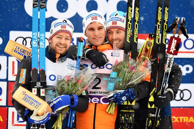 HÄR ÄR DOM tre norrmännen som slog alla i jaktstarten, fr v: Sjur Röthe (2:a), Didrik Tönseth (1:a) och Emil Iversen (3:a). Foto/rights: ROLF ZETTERBERG/KEK-stock