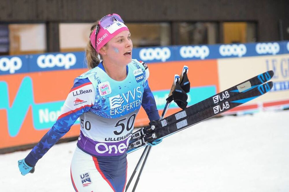 01.12.2018, Lillehammer, Norway (NOR):Jessica Diggins (USA) - FIS world cup cross-country, pursuit women, Lillehammer (NOR). www.nordicfocus.com. © Tumashov /NordicFocus. Every downloaded picture is fee-liable.