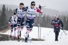 02.12.2018, Lillehammer, Norway (NOR):Sjur Roethe (NOR), Emil Iversen (NOR), Didrik Toenseth (NOR), (l-r)  - FIS world cup cross-country, pursuit men, Lillehammer (NOR). www.nordicfocus.com. © Modica/NordicFocus. Every downloaded picture is fee-liable.