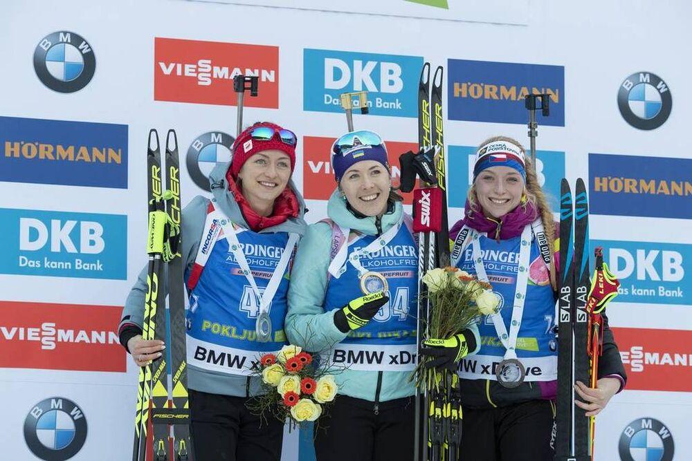 06.12.2018, Pokljuka, Slovenia (SLO):Monika Hojnisz (POL), Yuliia Dzhima (UKR), Marketa Davidova (CZE), (l-r) - IBU world cup biathlon, individual men, Pokljuka (SLO). www.nordicfocus.com. © Manzoni/NordicFocus. Every downloaded picture is fee-liable.