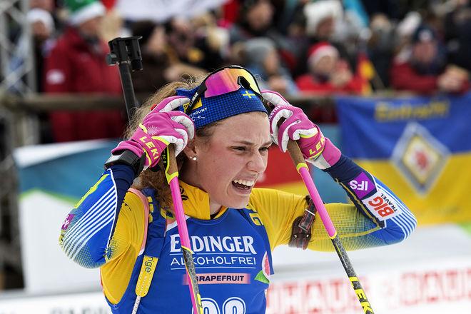 HANNA ÖBERG var nära att kämpa om en pallplats i världscuppremiären i Pokljuka i Slovenien. Men hon missade två skott och slutade 8:a. Foto: NORDIC FOCUS