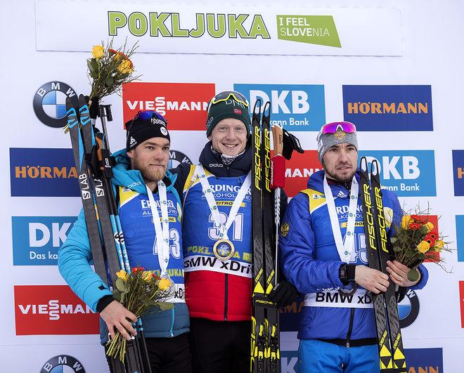 DOM TRE BÄSTA i herrarnas sprint i Pokljuka, fr v: Antonin Guigonnat, Frankrike (2:a), Johannes Thingnes Bö, Norge (1:a) och Alexander Loginov, Ryssland (3:a). Foto: NORDIC FOCUS