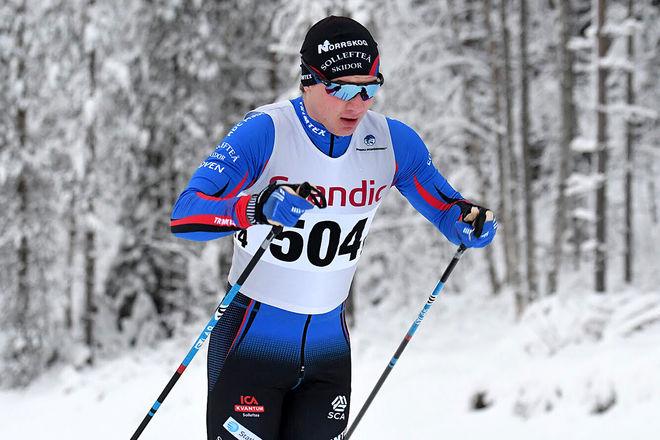 ELIS TINGELÖF på väg mot Sollefteås andra seger i Scandic Cup i Boden. Foto/rights: ROLF ZETTERBERG/KEK-stock