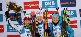 08.12.2018, Pokljuka, Slovenia (SLO):Dorothea Wierer (ITA), Kaisa Makarainen (FIN), Justine Braisaz (FRA), (l-r) - IBU world cup biathlon, sprint women, Pokljuka (SLO). www.nordicfocus.com. © Manzoni/NordicFocus. Every downloaded picture is fee-liable.