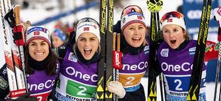 09.12.2018, Beitostolen, Norway (NOR):Heidi Weng (NOR), Therese Johaug (NOR), Ragnhild Haga (NOR), Ingvild Flugstad Oestberg (NOR), (l-r)  - FIS world cup cross-country, 4x5km women, Beitostolen (NOR). www.nordicfocus.com. © Modica/NordicFocus. Every do