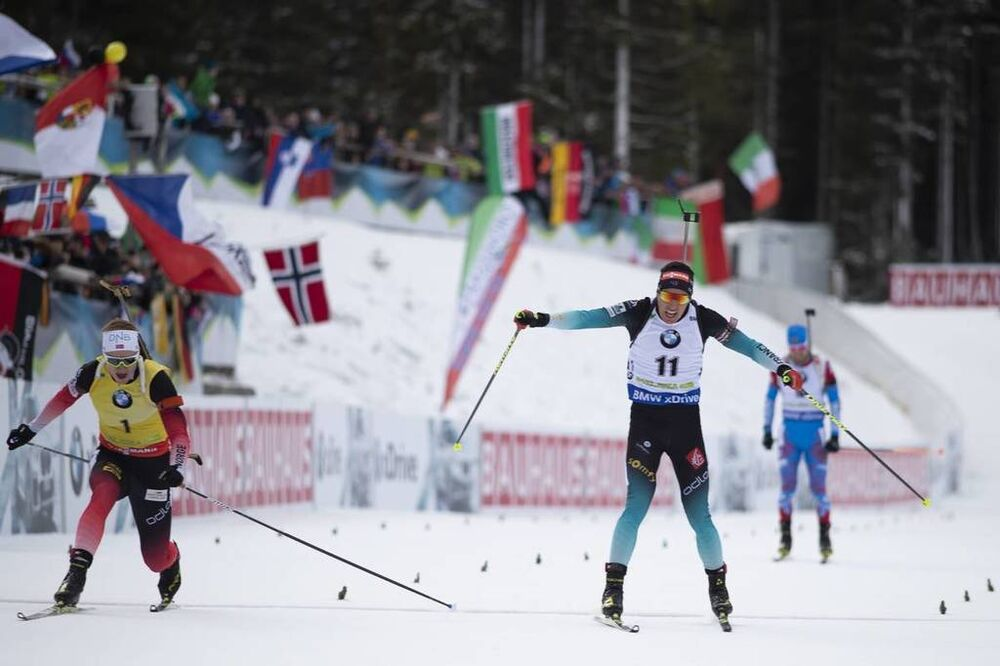 09.12.2018, Pokljuka, Slovenia (SLO):Johannes Thingnes Boe (NOR), Quentin Fillon Maillet (FRA), (l-r) - IBU world cup biathlon, pursuit men, Pokljuka (SLO). www.nordicfocus.com. © Manzoni/NordicFocus. Every downloaded picture is fee-liable.