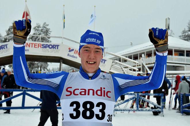 EMIL DANIELSSON, Högbo GIF kunde jubla mest i H17-18-klassen i Scandic Cup i Boden. Han leder också cupen totalt. Foto/rights: ROLF ZETTERBERG/KEK-stock